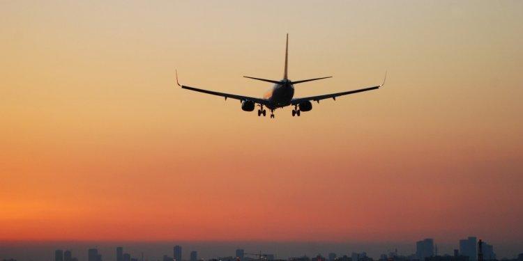 A plane preparing to land