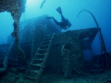 Diver regarding the Thistlegorm