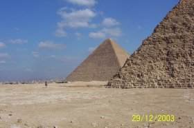 Egyptian Pyramids side view in the middle of desert