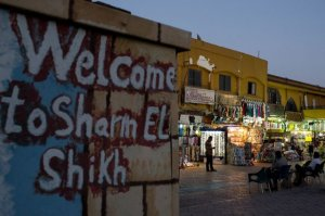 Shop owners watch for consumers in Old marketplace region in Sharm El Sheikh, Egypt