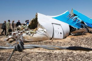 The crash site of a A321 Russian airliner in Wadi al-Zolomat, Sinai Peninsula, Egypt