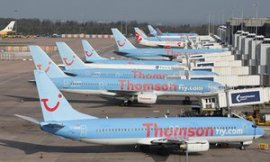 Thomson planes at Manchester Airport.